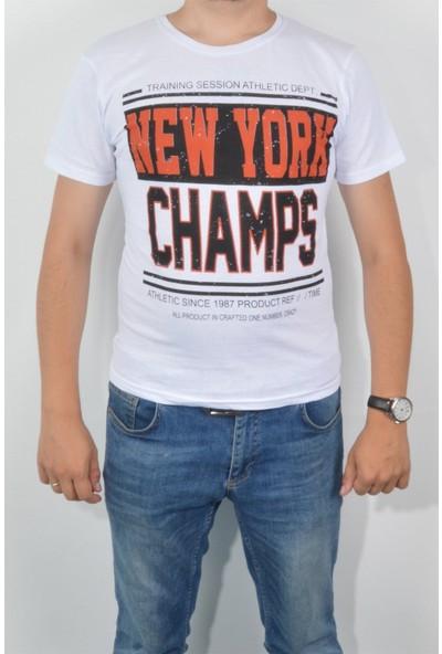 Pudrastil Beyaz New York Erkek T-Shirt