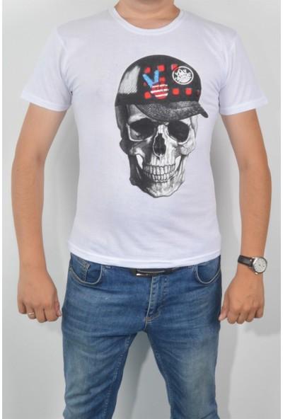 Pudrastil Kuru Kafa Baskılı Beyaz T-Shirt