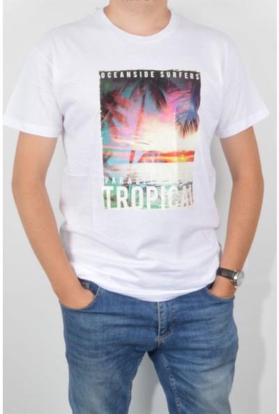 Pudrastil Baskılı Beyaz T-Shirt
