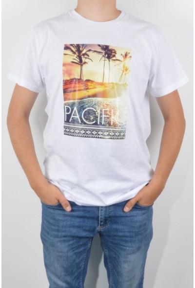 Pudrastil Beyaz Pasific Erkek T-Shirt