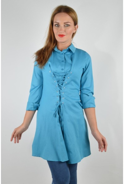 Pudrastil Mavi Bağcık Detaylı Tunik Elbise