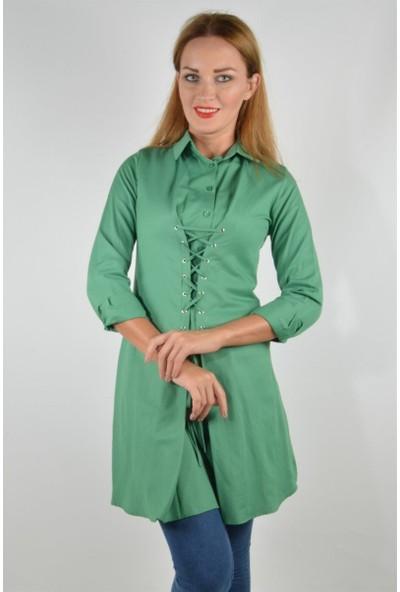 Pudrastil Yeşil Bağcık Detaylı Tunik Elbise