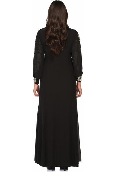 Arıkan Büyük Beden 2753 Siyah Uzun Abiye Elbise