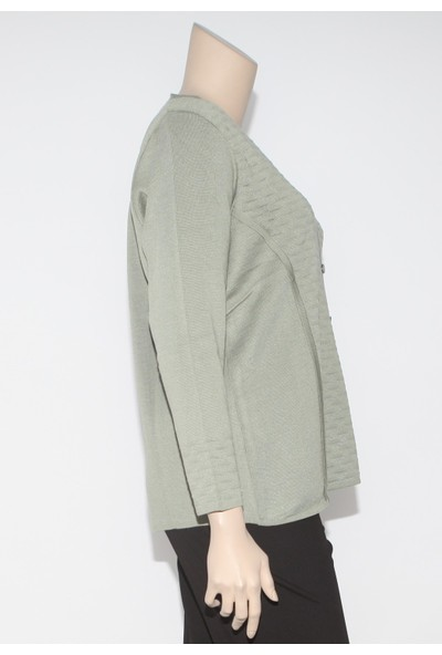 Arıkan Büyük Beden 7011-H Mint Yeşili Triko Hırka