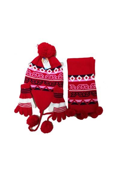 Demas Triko Çocuk Polarlı Atkı Eldiven Şapka Takımı
