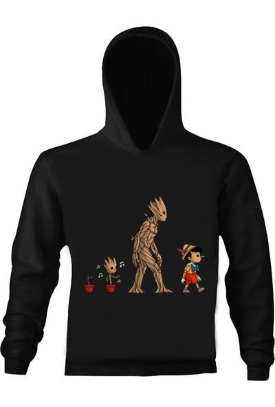 Art T-Shirt Groot ve Pinokyo Çocuk Kapüşonlu Sweatshirt