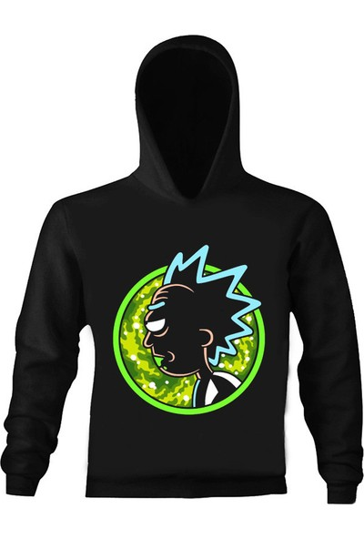 Art T-Shirt Rick And Morty Çocuk Kapüşonlu Sweatshirt
