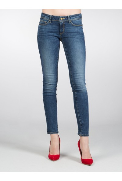 Colin's Super Slim Fit Dar Paça Düşük Bel 757 Sally Lacivert Kadın Pantolon
