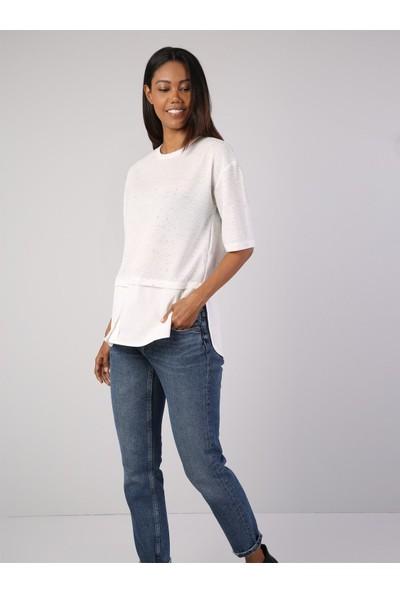 Colin's Beyaz Kadın Tshirt U.kol