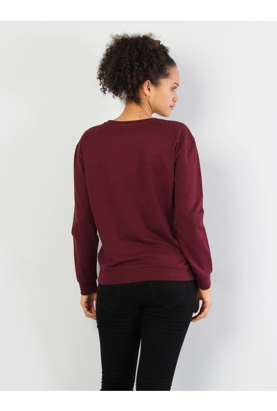 Colin's Bordo Kadın Sweatshirt