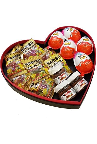 Chavin Kalp Kutu İçinde Mini Nutella Kinder Joy Haribo Paketi Yap72