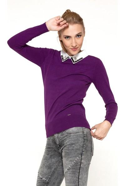 Whip Design Gömlek Yaka İşlemeli U.Kol Kazak