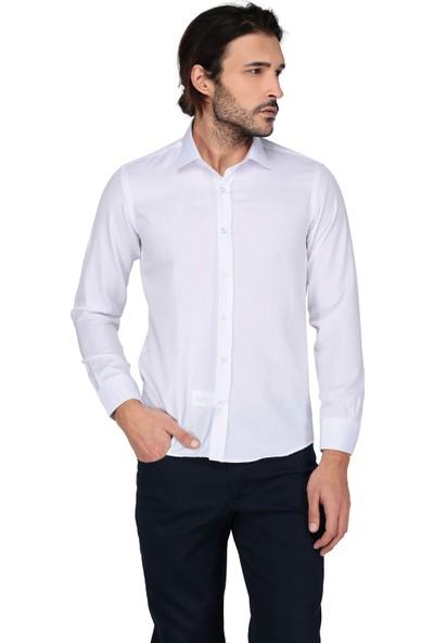 Buenza Saten Opal 41131 Uzun Kol Slim Fit Gömlek-Beyaz