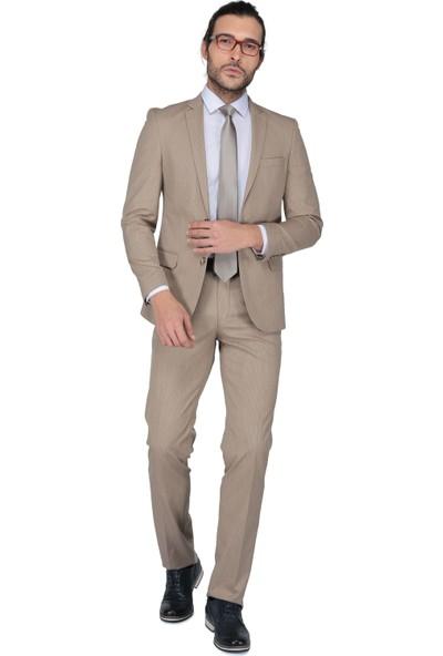 Buenza Tirano Slim Fit Mono Tk Yrt Takım Elbise - Kahverengi