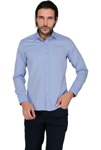 Buenza Sry Empirme Gold 902 Uzun Kol Slim Fit Gömlek-Mavi