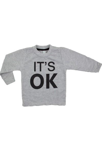 Difa It's Ok Baskılı Gri Uzun Kollu Sweatshirt
