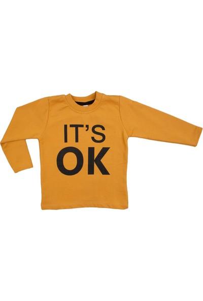 Difa It's Ok Baskılı Sarı Uzun Kollu Sweatshirt