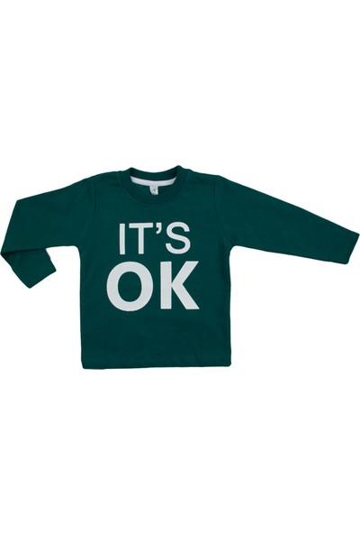 Difa It's Ok Baskılı Yeşil Uzun Kollu Sweatshirt