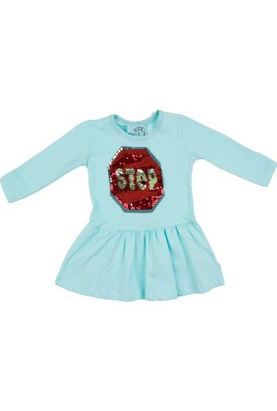Nnk Pullu Stop Yazılı Mint Mevsimlik Elbise
