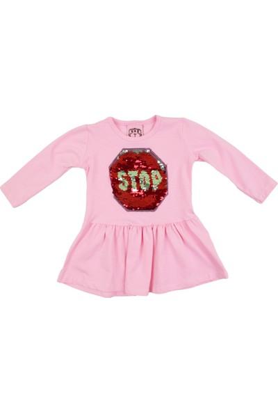 Nnk Pullu Stop Yazılı Pembe Mevsimlik Elbise