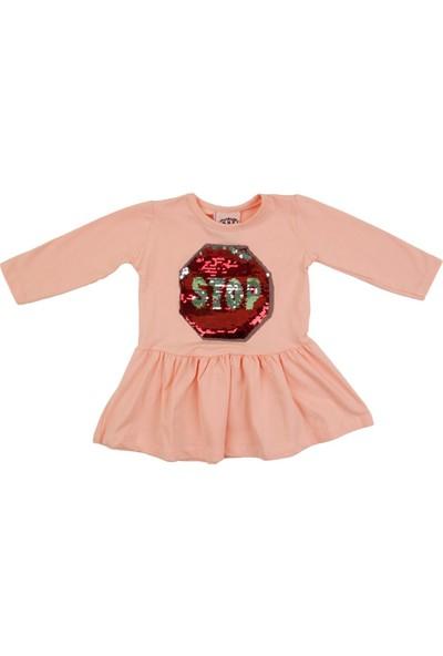 Nnk Pullu Stop Yazılı Somon Mevsimlik Elbise