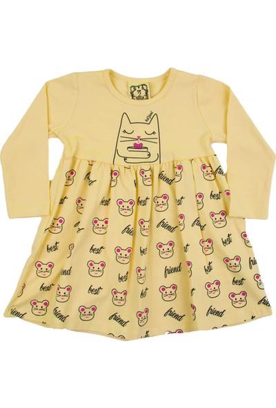 Nnk Kedi Desenli Sarı Mevsimlik Elbise