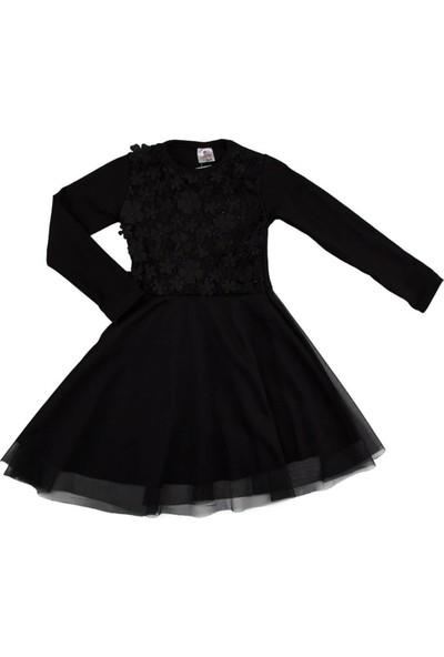 Selfie Kids Dantelli Tüllü Elbise Siyah
