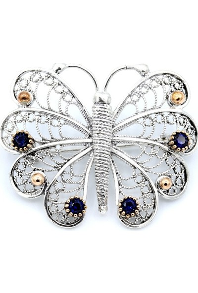 Akyüz Gümüş Kelebek Telkari Gümüş Broş 051