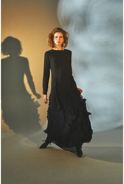 Latifa Anya Şerit Volanlı Elbise Siyah