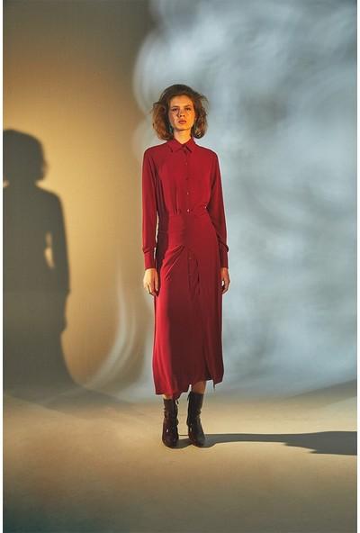 Latifa Mendel Anvelop Kapamalı Elbise Bordo