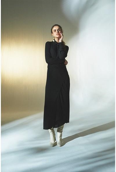 Latifa Mendel Anvelop Kapamalı Elbise Siyah