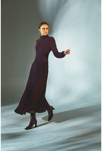 Latifa Rashel Triko Manşetli Elbise Mürdüm