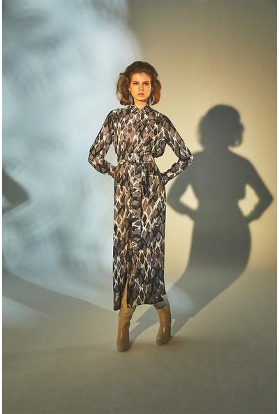 Latifa Agnes Dijital Baskılı Elbise Gri