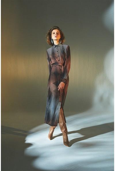 Latifa Agnes Dijital Baskılı Elbise Somon