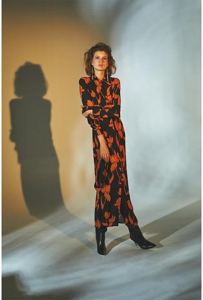 Latifa Agnes Dijital Basklı Elbise Oranj