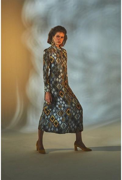 Latifa Nicole Dijital Baskılı Elbise Gri