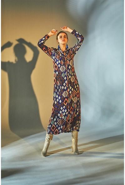 Latifa Nicole Dijital Baskılı Elbise Mor