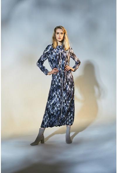Latifa Nicole Dijital Baskılı Elbise Vizon