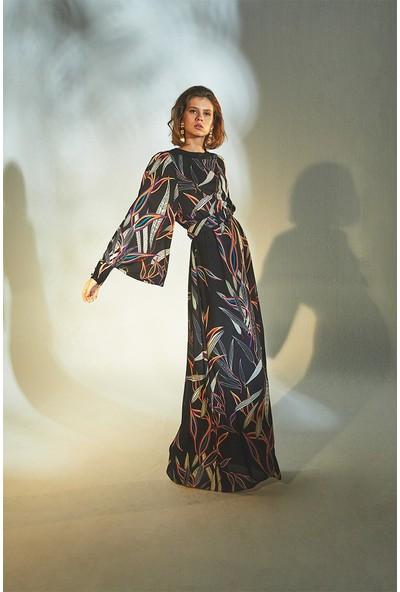 Latifa Elen Uzun Elbise Siyah