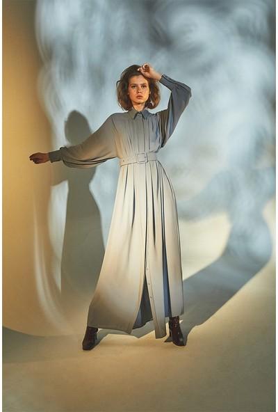 Latifa Classy Dökümlü Elbise Gri