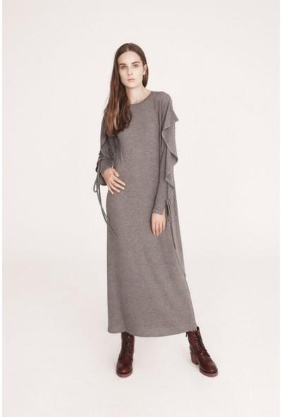 Latifa Amber Fırfırlı Elbise Antrasit