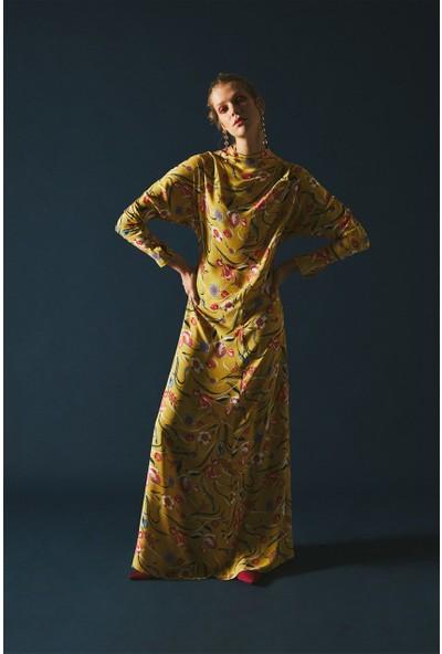 Latifa Elissa Uzun Elbise Safran