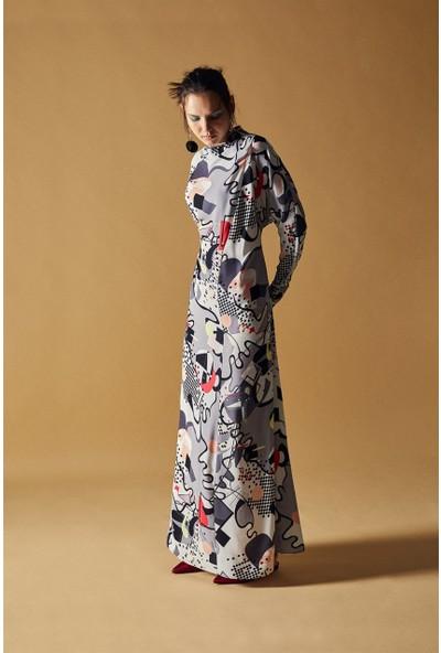 Latifa Elissa Uzun Elbise Gri