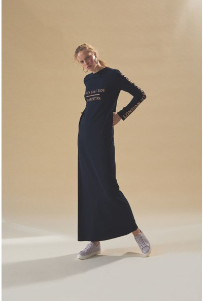 Latifa Manhattan Elbise Lacivert