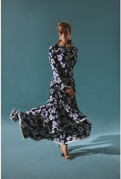 Latifa Rio Uzun Fırfırlı Elbise İndigo