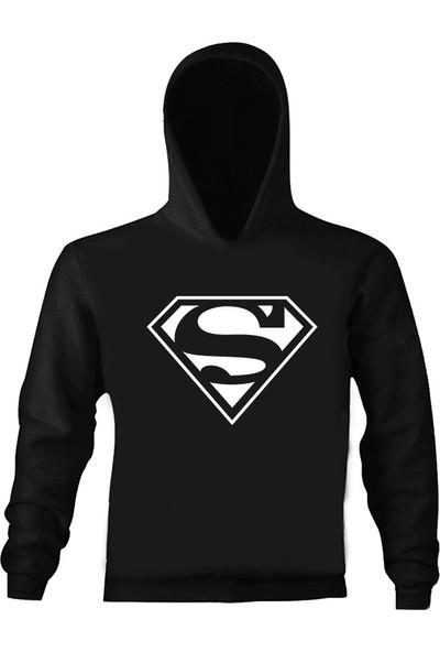 Art T-Shirt Superman Logo Çocuk Kapüşonlu Sweatshirt