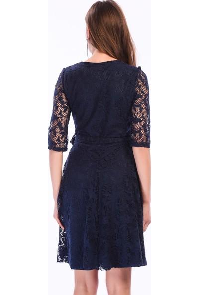 İroni Dantel Kadın İndigo Mini Elbise - 5223-633