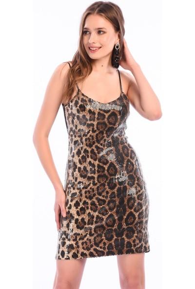 İroni Payetli Kadın Mini Elbise - 5229-1282