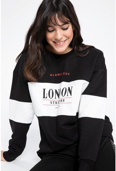 Defacto Kadın Slogan Baskılı Renk Bloklu Relax Fit Sweatshirt