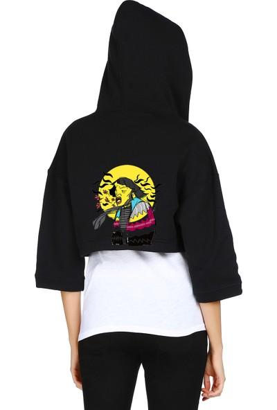 Mumu Kapüşonlu Sırt Tasarım Baskılı Sweatshirt